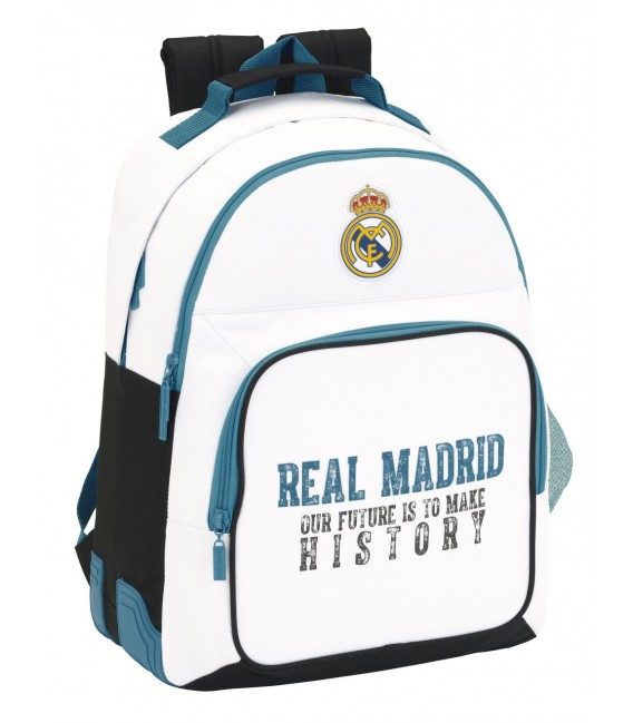 MOCHILA ESCOLAR ADAPTABLE REAL MADRID BLANCO