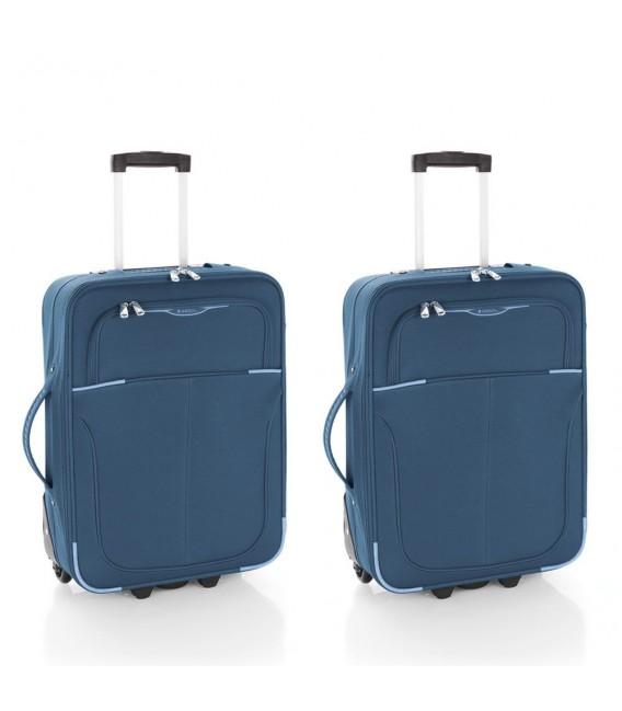 Juego dos maletas cabina Ryanair Gabol Malasia azul petroleo