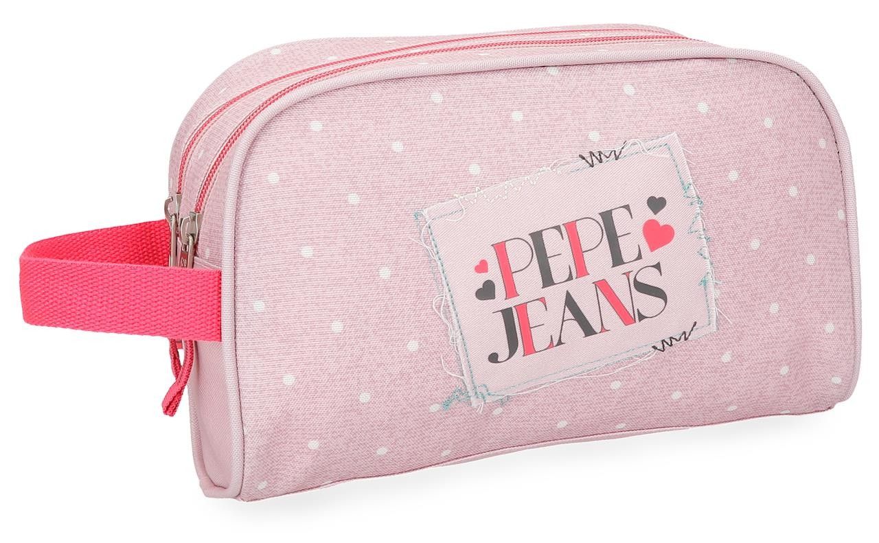 Neceser Pepe Jeans Olaia rosa doble compartimento adaptable a trolley
