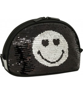 Neceser Moon Smiley Sequin Plata