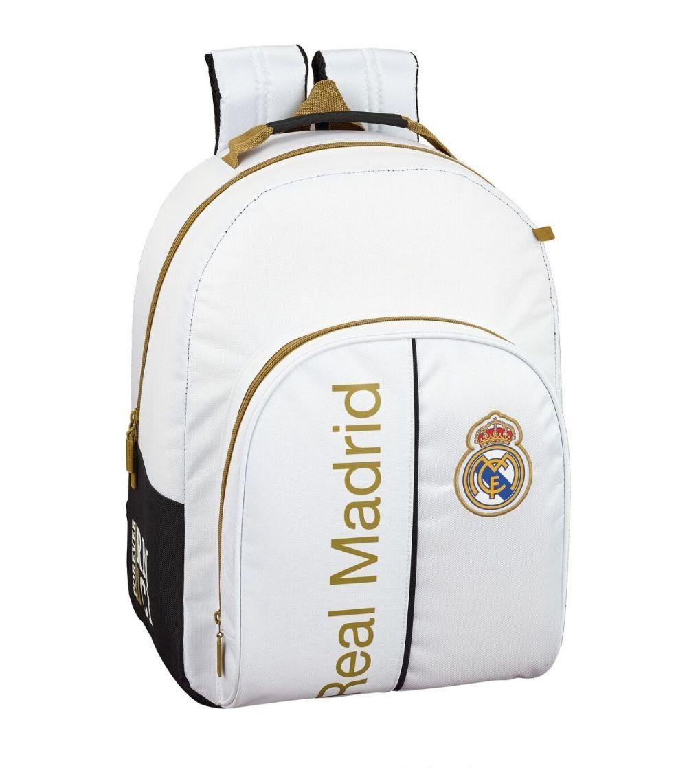 Mochila Escolar Adaptable C/Protección Real Madrid Blanco