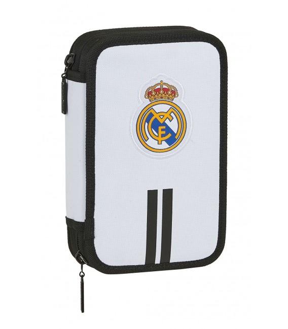 Estuche Dos Compartimentos Relleno Real Madrid Blanco