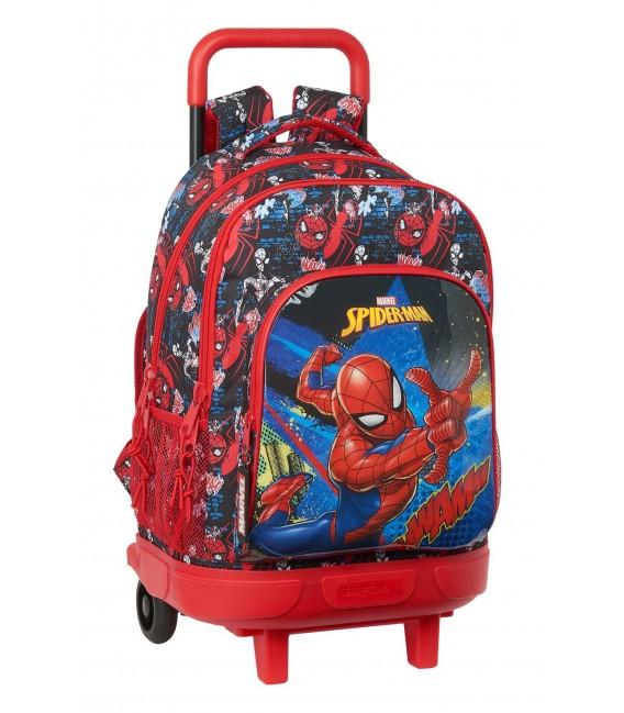 """MOCHILA GDE. C/RUEDAS COMPACT EXTRAIBLE SPIDER-MAN """"GO HERO"""""""